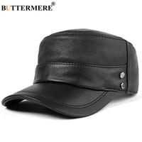 BUTTERMERE Black Military Caps Men Winter Leather Hats Army Male Genuine Sheepskin Leather Adjustable Vintage Sailor Hat Navy