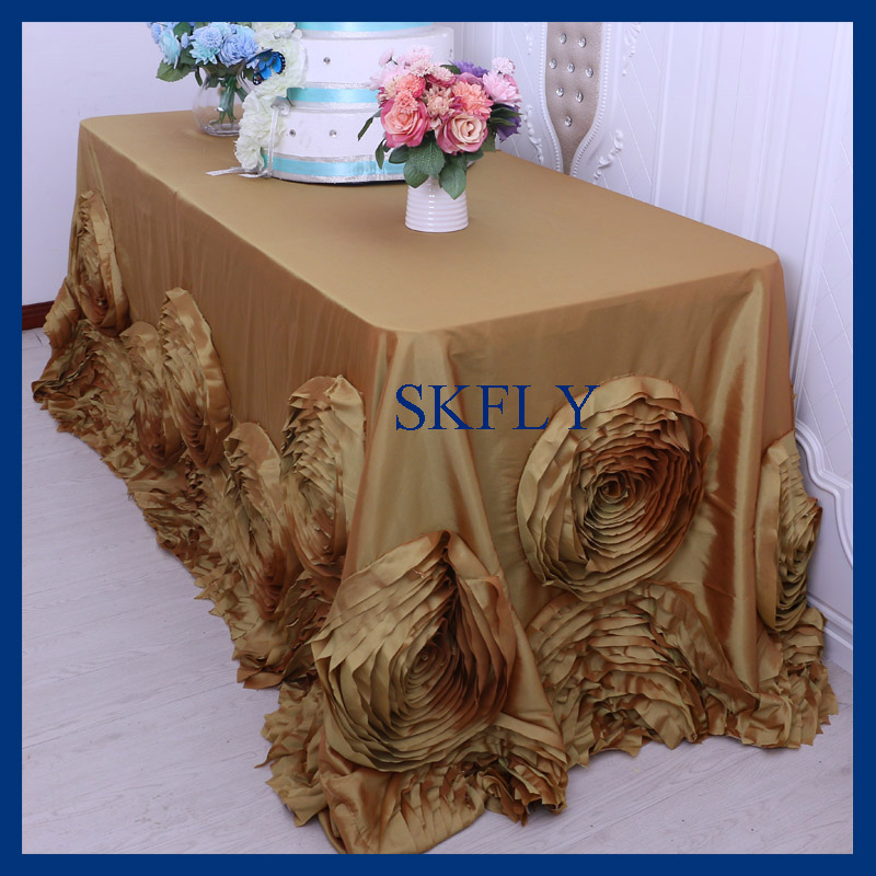 CL052CB Gorgeous wedding 6ft or 8ft rectangle gold table cloth with rose flower