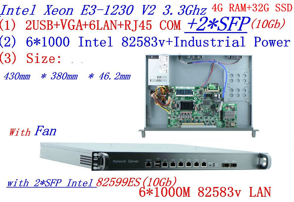 Carrier Firewall Server Engine Router 2* 10Gb SFP With  6* 82583v Gigabit Lan Inte Quad Core Xeon E3-1230 3.3G 4G RAM 32G SSD