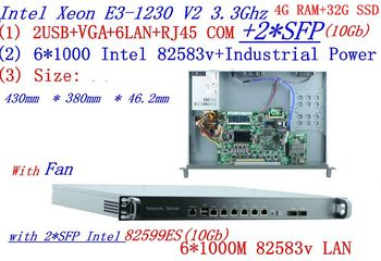 Carrier Firewall server Engine router 2* 10Gb SFP with  6* 82583v Gigabit lan Inte Quad Core Xeon E3-1230 3.3G 4G RAM 32G SSD