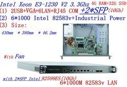 Carrier Firewall server Motor router 2*10 gb SFP met 6*82583 v Gigabit lan Inte Quad Core xeon E3-1230 3.3g 4g RAM 32g SSD