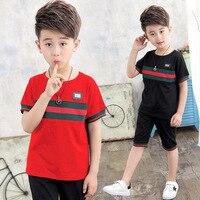 Комплект летней одежды для мальчиков, Детская футболка + короткие штаны, комплект из 2 предметов, комплекты одежды для мальчиков