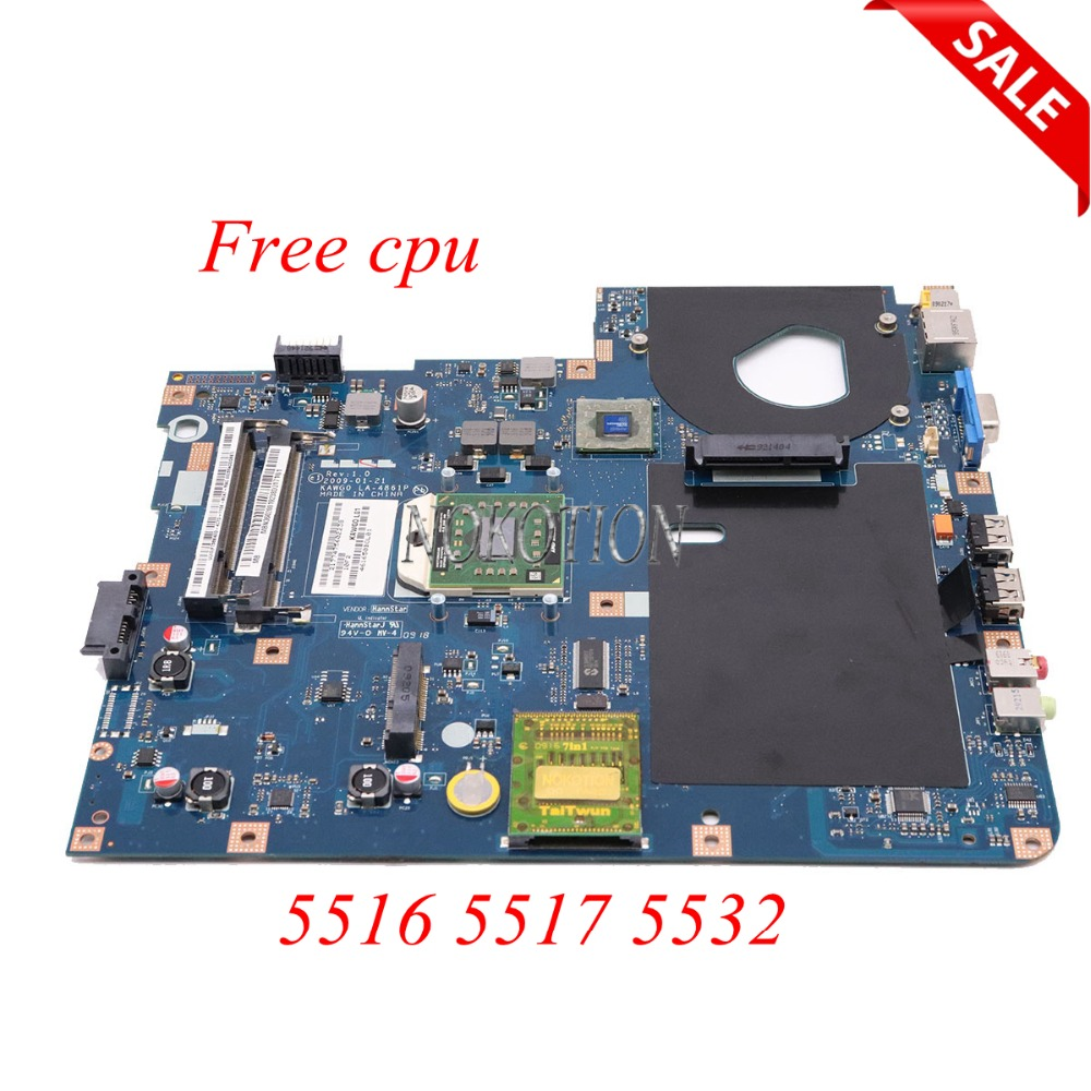 цена NOKOTION MBPGY02001 MB.PGY02.001 Laptop Motherboard For Acer aspire 5516 5517 5532 NCWG0 LA-5481P LA-4861P Main board Free CPU