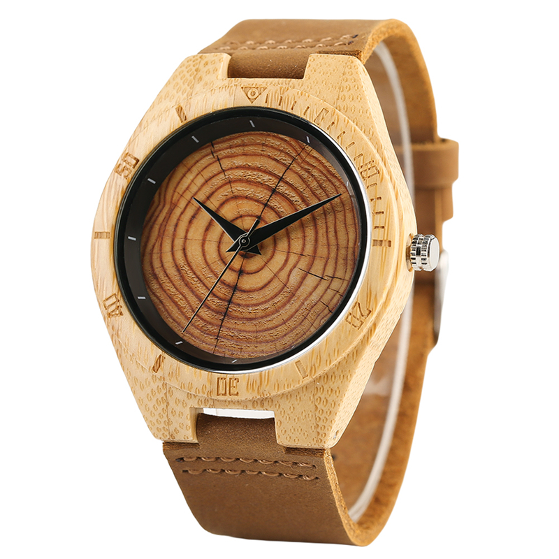Bamboo Wooden Watches Quartz Men Genuine Leather Band Fashion Casual Wrist Watch Tree Annual Ring Dial Creative Male Clock Gift new arrival bamboo men wristwatch classic arabic number dial genuine leather band strap trendy gift quartz watch