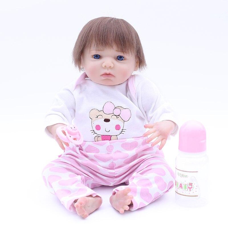 NPK date 43 cm Silicone Reborn bébé poupées Boneca Reborn Realista mignon poupées pour princesse enfants cadeau d'anniversaire Bebes Reborn
