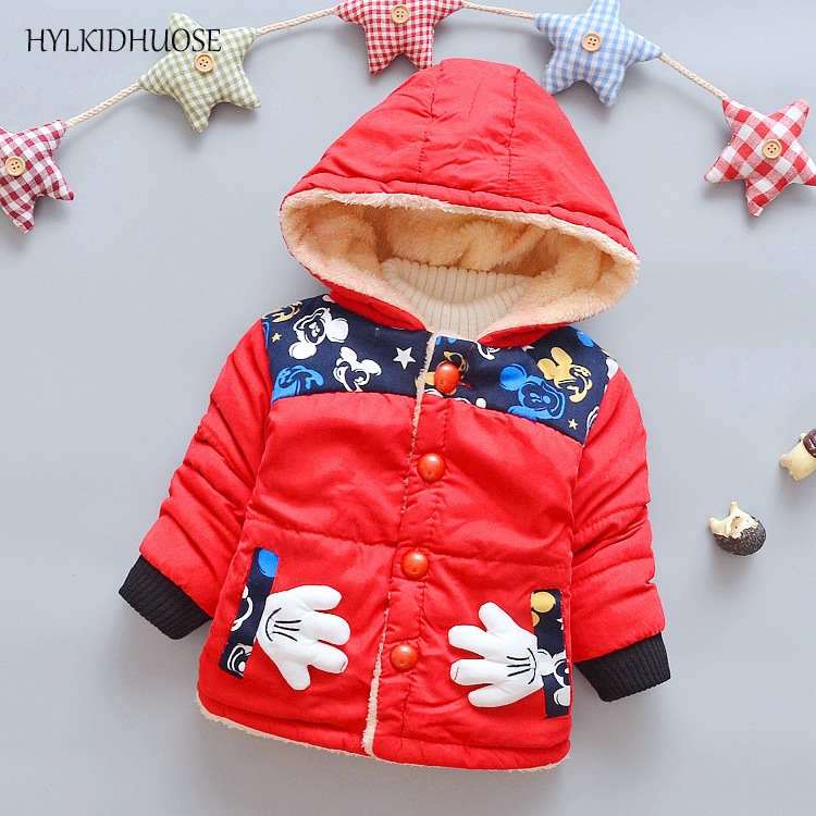 HYLKIDHUOSE 2017 Winter Baby Boys Girls Coats Warm Cartoon Infant Outdoor Jackets Hooded Children Outerwear kids Plush Parkas