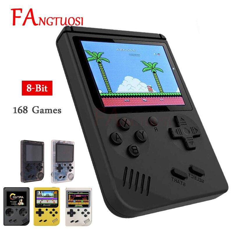 Fangtuosi console de jogos de vídeo 8 bits retro mini bolso handheld jogador built-in 168 jogos clássicos para o jogador nostálgico da criança