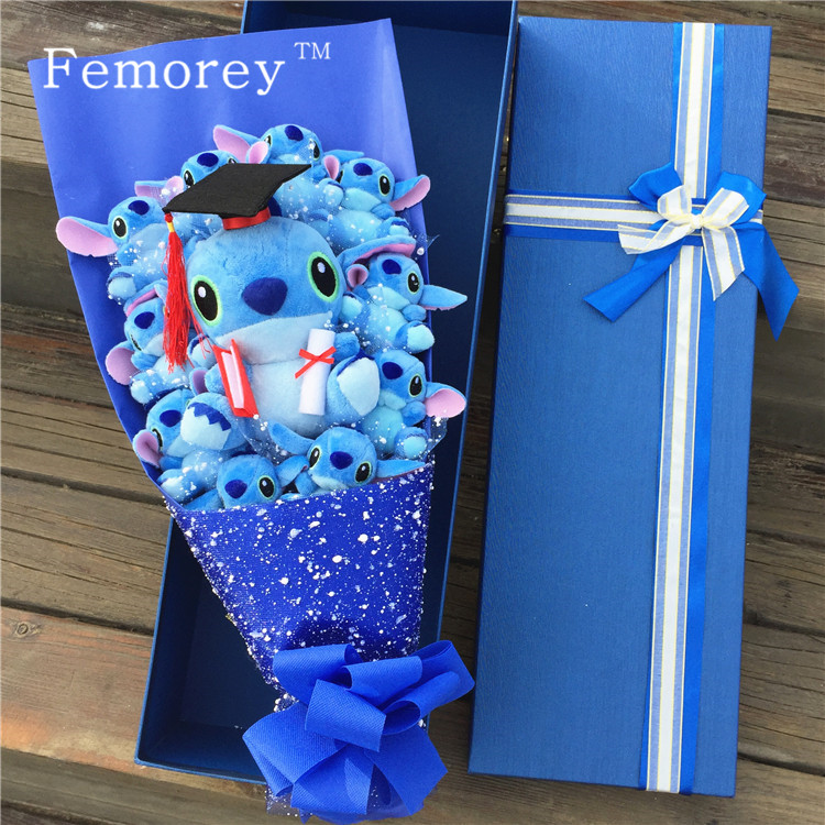 Drop Shipping Kawaii Stitch Plush Doll Toys Lovely Lilo And Stitch Bouquet Stich Stuffed Doll Birthday Valentine's Gift No Box