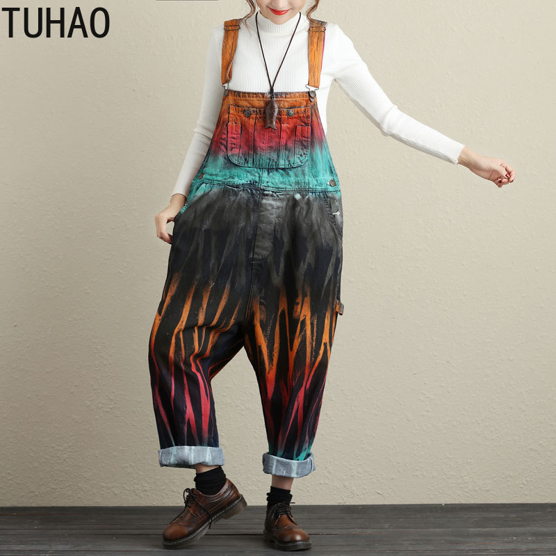 TUHAO 2019 Woman Retro Jean Jumpsuits Female Large Size Rompers Women Vintage Washed Printed Wide Leg Bib Denim Overalls LLJ