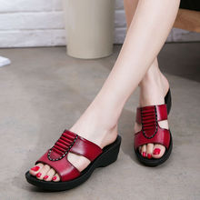 The new mom summer fashion sandals and slippers soft-soled casual female slippers flat slippers with big yards in the elderly 41