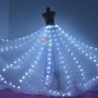 Светодиодный юбка светящиеся модные женские туфли длинное платье световой крылья бабочки СВЕТОДИОДНЫЙ Костюмы свет леди платье для танцев