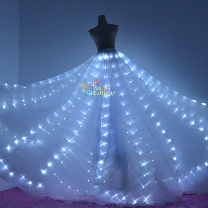 led skirt glowing fashion women long dress luminous butterfly wings led clothing light lady. Black Bedroom Furniture Sets. Home Design Ideas
