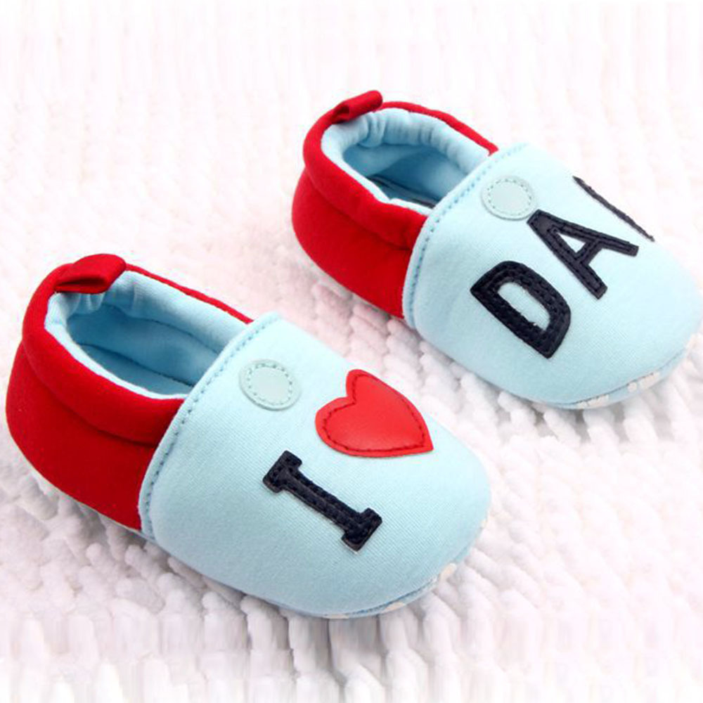 New Lovely Toddler Baby Girl Boy Round Toe Flats Soft Slippers Shoes I Love MOM/DAD New P1