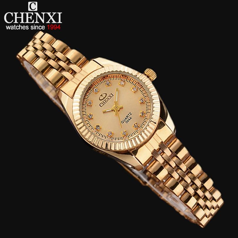 Prix pour Mesdames Montre En Or Femmes D'or Horloge Femelle Top De Luxe CHENXI Marque Femmes Robe Strass Quartz Étanche Montres Féminin