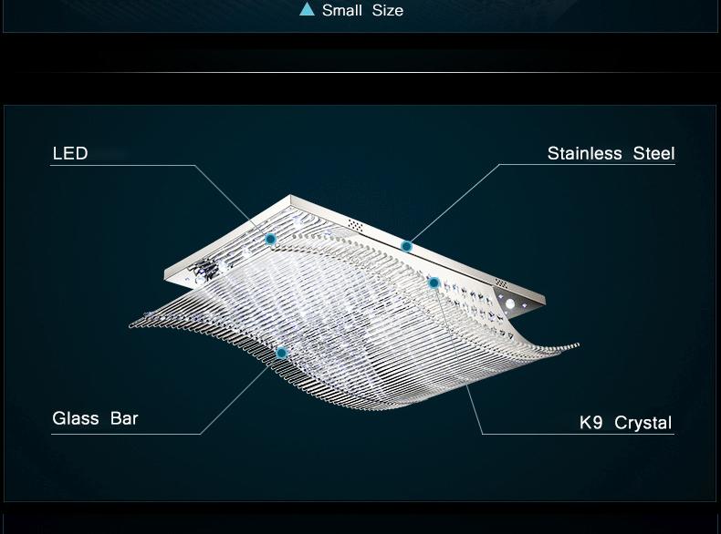 Luxury 4 Color Smooth Sailing Led Lamp K9 Crystal Modern Square Led Ceiling Lights (13)