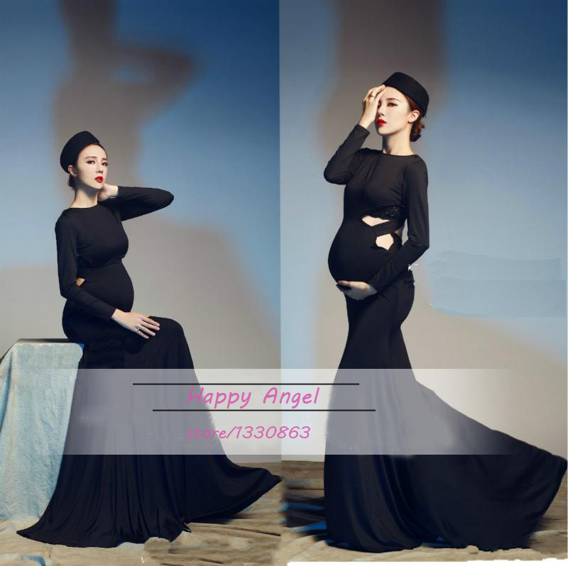 Elegant Maternity pregnant women Photography Props Black mermaid Baby Shower Gentle Romantic Photo Shoot Costume Free Size