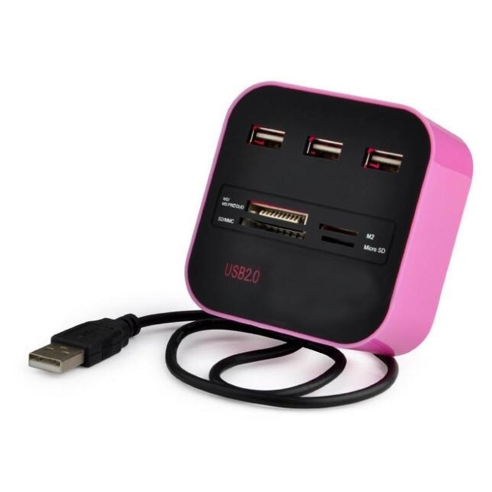3 высокого Скорость Порты и разъёмы USB HUB разветвитель USB 2,0 адаптер для Тетрадь/планшетный компьютер PC периферия Аксессуары розовый