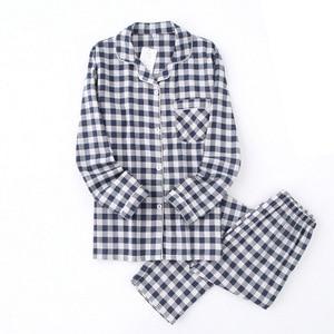 Image 4 - Lovers Spring New Pajama Set Plaid 100%Gauze Cotton Men And Womens Couple Sleepwear Turn Down Collar Household Wear Casual Wear