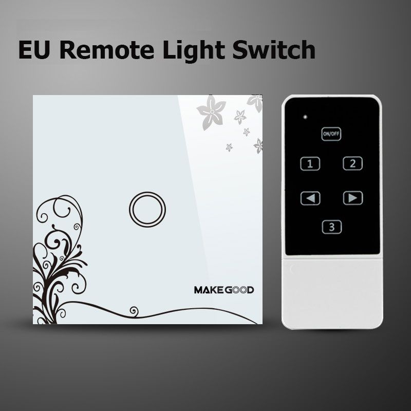 Makegood EU/UK Standard 1 Gang 2 Way Wireless Remote Control Light Switch, Glass Panel Touch Switch, RF433 Remote Control Switch smart home luxury crystal glass 2 gang 1 way remote control wall light touch switch uk standard with remote controller
