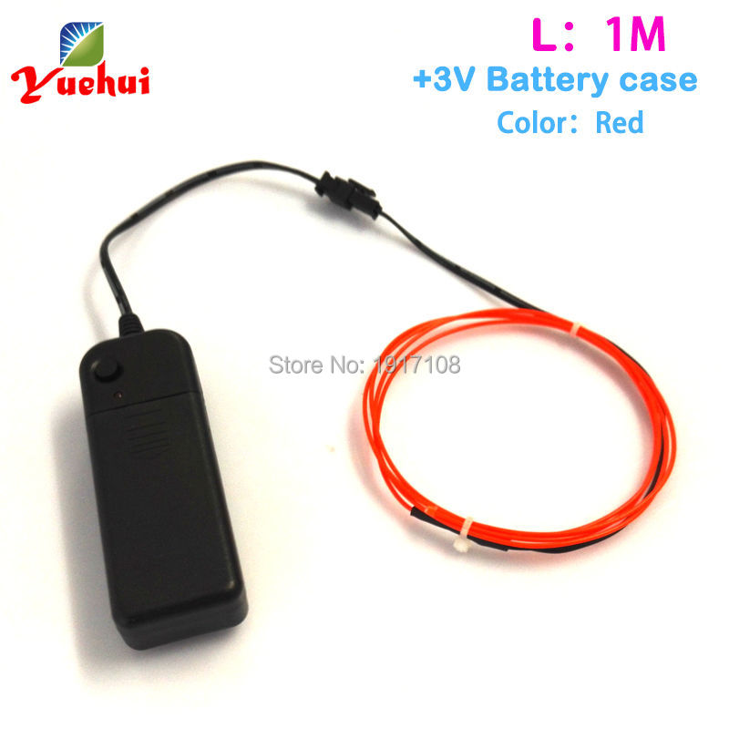 Colorful 1.3mm 1M Red EL Wire Tube Rope Battery Powered Flexible Neon Cold Light Car Party Wedding Decor With Controller