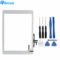 Netcosy Black White Touch Glass Screen Digitizer Home Button Assembly Replecement For IPad 5th Gen 2017