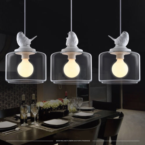 3 Bulb Ceiling Light: Resin Bird Glass Vintage LED Bulb Ceiling Lamp Pendant