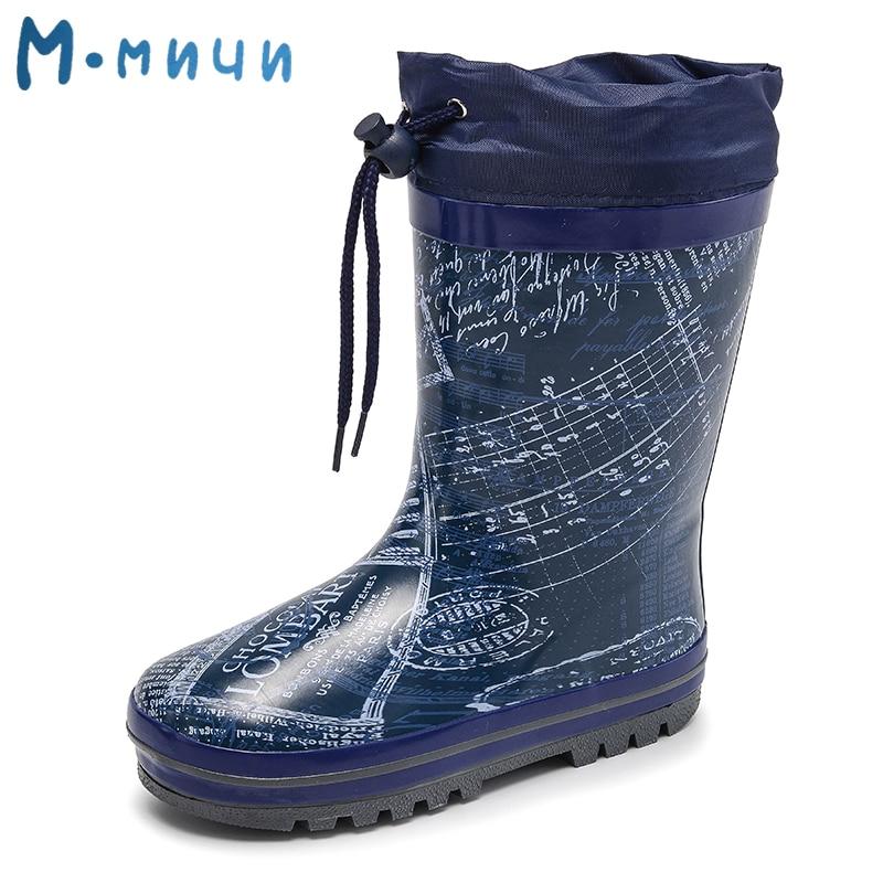 MMNUN Children Rain Boots 2018 New Rainning Warm Rainboots Children's Rubber Shoes Boys Waterproof Shoes Toddler Kids Boots flowers purple elegant female boots gaotong water shoes rain shoes rubber shoes rubber rainboots