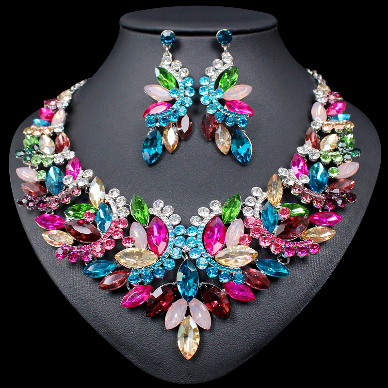 Fashion Big Crystal Statement Necklace Earrings set Indian Bridal Jewelry Sets for Brides Wedding Party Costume Jewellery WomenFashion Big Crystal Statement Necklace Earrings set Indian Bridal Jewelry Sets for Brides Wedding Party Costume Jewellery Women