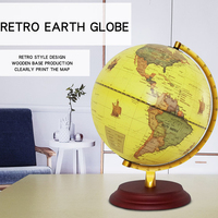 Retro Style Geographical World Globe Map Lights Lamp Toy Educational Yellow