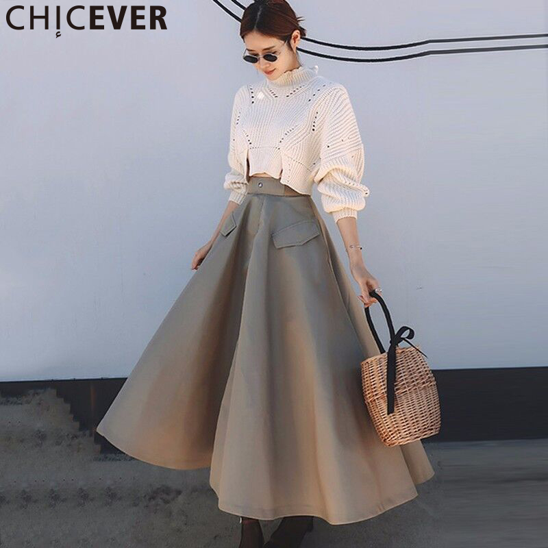 CHICEVER Autumn 2 Piece Set Women High Collar Knitting Pullovers Sweater With Elastic Waist Loose Plus Size Skirt Fashion New