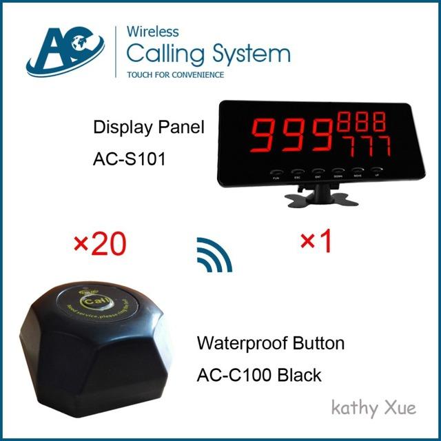 Digital Sem Fio Sistema de Paginação Chamador Tela Com AC-C100 AC-S101 Cliente Buzzer (1 pcs + 20 pcs botão de chamada)