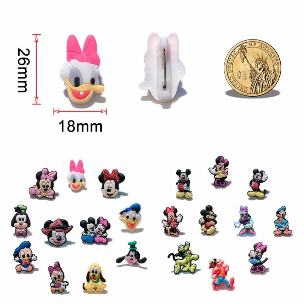 10-11 Pcs Mickey Pvc Cartoon Figure Icon Brooch Pins Badge Cute Pin Button Badge Pinbacks Backpack Clothes Hat Decor Xmas Gift