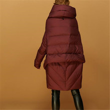 Winter 2017 New Elegant Women Casual Coat Down Jacket Temperament Pure color Warm Loose Big yards Cloak Medium long Coat G0503