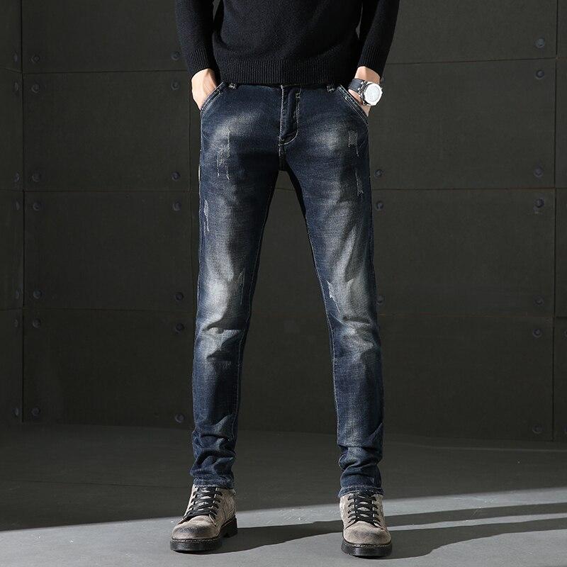 2018 Nuovi Jeans Di Moda Maschile Di Business Casual Stretch Jeans Slim Autunno Inverno Pantaloni Classici Di Alta Qualità Del Denim Dei Pantaloni Maschili Carattere Aromatico E Gusto Gradevole