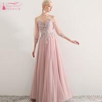 Три четверти Длина рукава Длинные платья невесты розовый линия Свадебная вечеринка платье вечернее платье для выпускного вечера JQ22
