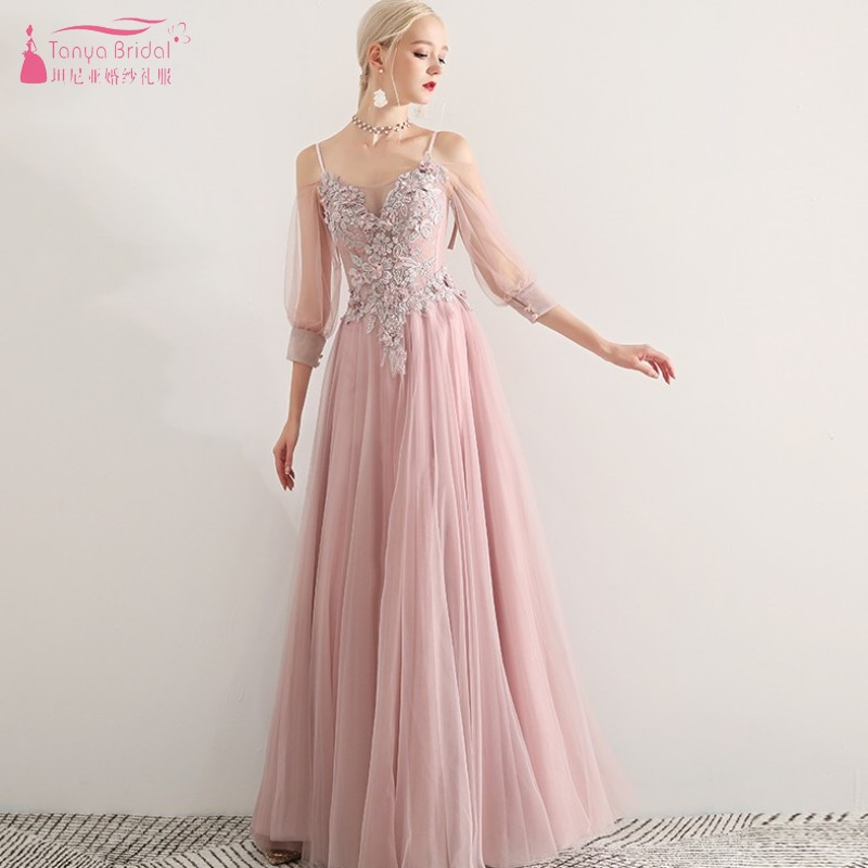 Three Quarter Length Sleeves Long Bridesmaid Dresses Pink A Line Wedding Party Dress Formal Gown Prom Dress JQ22