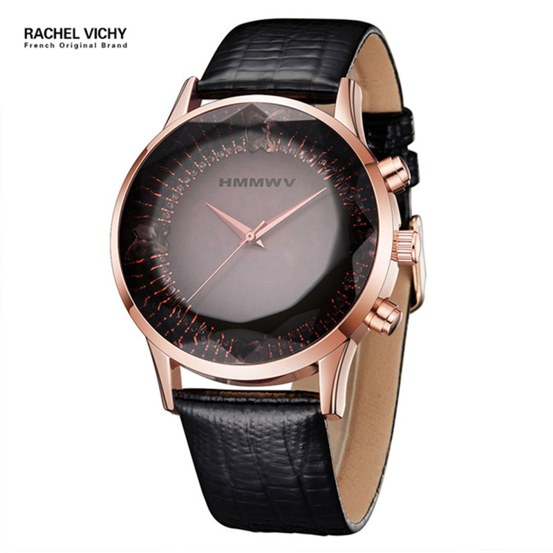 Luxury Brand Quartz Lady Watch Rhinestone Waterproof Women 39 s Watch Genuine Leather Upscale Large Dial Luxury Gift Wristwatches in Women 39 s Watches from Watches