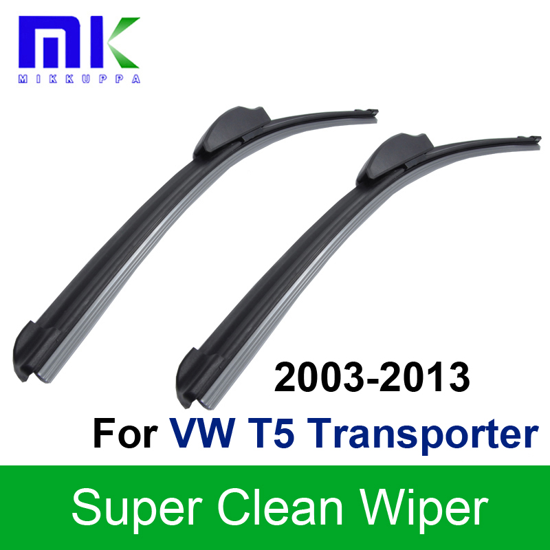 Silicone Rubber Wiper Blades For VW T5 Transporter 2003 2004 2005 2006 2007 2008-2013 Windscreen Wipers Auto Car Accessories free shiping tju aju c12 12 130 dia 12mm insertable bore drilling end mill cutting tools arbor for cpmt080204