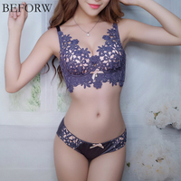 BEFORW 2017 Fashion Embroidery Underwear Set Women Flower Lace Bra Set Wireless Push Up Womens Bra