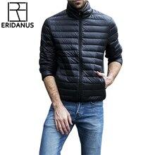 Jesień zima kurtka mężczyźni 2016 nowe dla par cienkie płaszcze 90% puch kaczy Ultra lekkie cienkie Stand Collar bawełny wyściełane jednolita parka X353