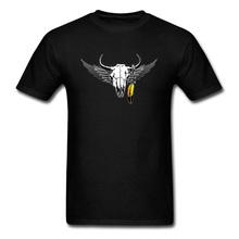2018 Tribal Bull Skull Print Men's Black T Shirt Short Sleeve Cotton Fabric Tee Shirts Vintage Style Clothing Plus Size