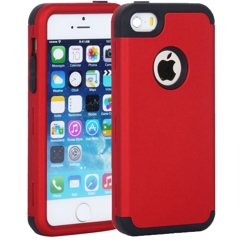 Rubber Cases for Apple iPhone 5 5S SE 5C S C 3in1 Soft Hard Heavy Duty Protection Combo Cover Plastic Phone Bag Shell