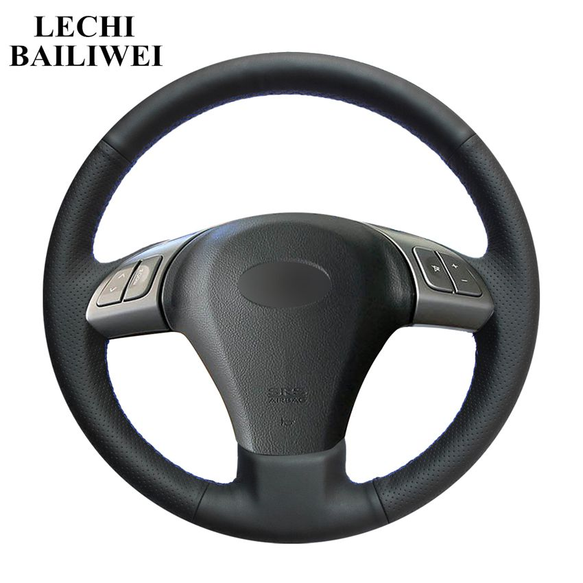 Black Artificial Leather DIY Hand-stitched Car Steering Wheel Cover for Subaru B9 Tribeca 2006-2007 Tribeca 2014(China)