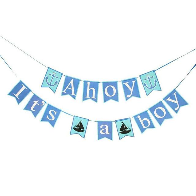 it is a boy banner baby shower party decor flag banner supplies anchor sailor themed ahoy