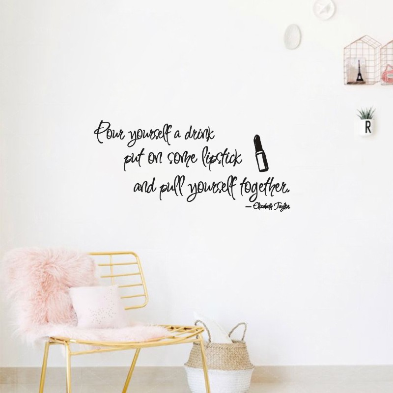 Inspirational Wall Decal Stickers For Girls , Elizabeth Taylor Quotes Put  On Some Lipstick For Teenage Girls Room Art Decor In Wall Stickers From  Home ... Part 34