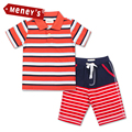 Meney's New Summer Tracksuit Children Cotton Stripe Clothing Sets Baby Boys Cartoon Dog Clothes Sets Kids T-shirt & Shorts Suit