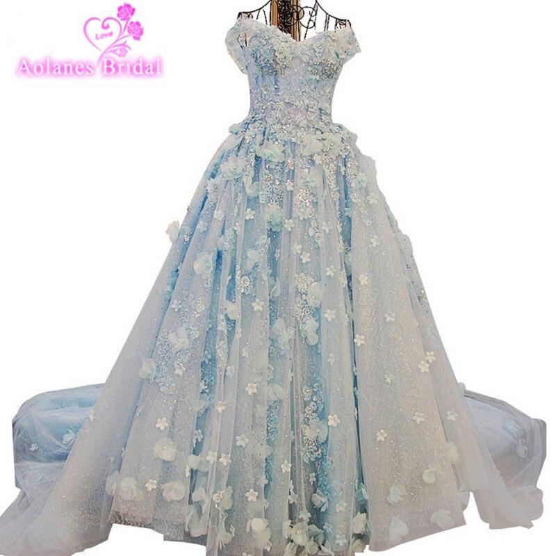 2017 neue Lange Kapelle Zug 1 mt Brautkleider Luxus Puffy Ballkleid Prinzessin Hellblau Elfenbein Wulstige Kristalle Braut kleid
