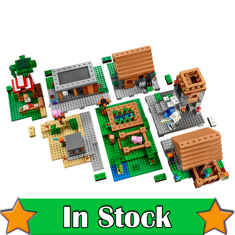 MineCraft Village Lepin 1600+pcs ENDERMAN Zombie Model Building Blocks Set compatible with 21128 My World DIY Toys For Children new lepin 16009 1151pcs queen anne s revenge pirates of the caribbean building blocks set compatible legoed with 4195 children