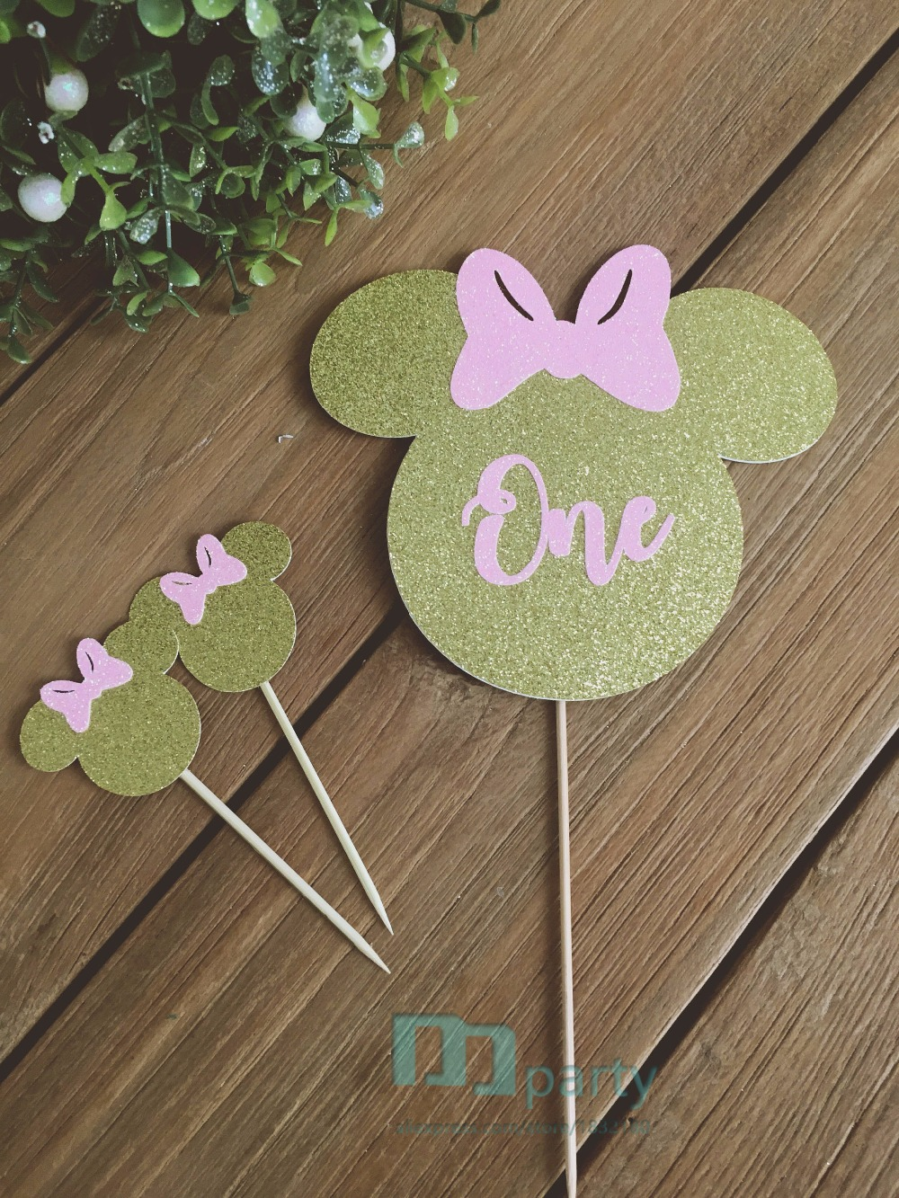 Glittered Minnie Mouse Cake Toppers, Minnie Cake Toppers, Minnie Cake, Minnie  Mouse Party