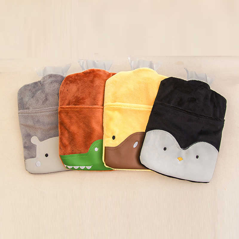 1Pcs Portable Water Hot Water Bottle Cute Cartoon Warm Handbags Children Flush Small Warm Palace Velvet Warm Water Bag HG0401